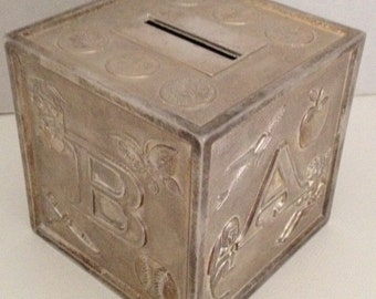 Coin Bank Metal Silver Plated Block Bank Vintage