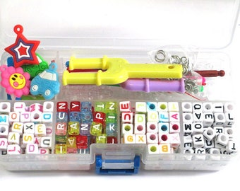 charm 1 kit for creating jewelry - 350 acrylic alphabet beads - plastic etc...