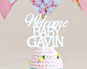 Baby Shower Cake Topper, Personalized Name Baby Shower Cake Topper, Custom Name Cake Topper, Welcome Baby Cake Topper, Reveal Baby Gender