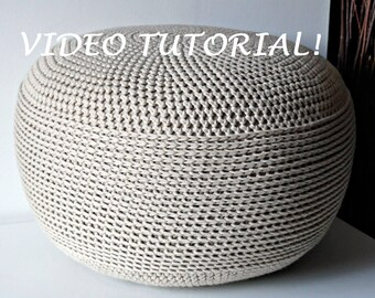 CROCHET PATTERN Diy Tutorial  Crochet Pouf Poof, Ottoman, Footstool, Home Decor, Pillow, Bean Bag, Floor cushion Easy  (Crochet Pattern)