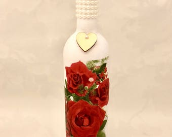 red rose home decor, romantic gift, wine bottle lamp, valentines gifts, wine bottle light, lighted wine bottle, decoupaged home decor,