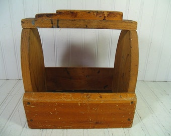Shoe Shine Tool Box Vintage Primitive HandMade Wooden - Rustic Wood Remnants Artist Supplies Carrier Tote - Antique Bottle, Vase, Jug Holder