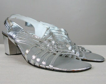 Vintage 1960's Silver Metallic Strappy Sandals 60's Silver Vinyl Gogo Sandals Size 9