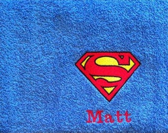 Superman Logo Personalised Embroidered Superman Towels