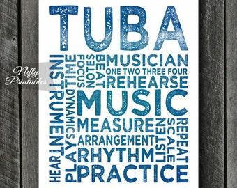 Tuba Art - INSTANT DOWNLOAD Tuba Print - Tuba Player - Tuba Poster - Tuba Gifts - Music Gifts - Tuba Wall Art - Tuba Decor Music Typography