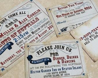 NEW Sophisticated Saloon Wedding invitation set, Western Wedding Invitation. Texas Wedding Invitation