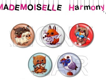 5 cabochons made of glass 20 MM fierce animals the size of the cabochons is of 25 MM