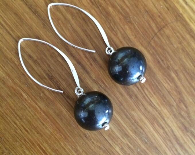 Black Hematite bead earrings on long Sterling Silver hooks