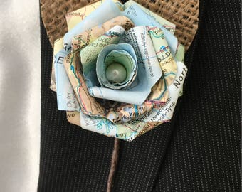 Handmade Paper rose Buttonholes. Atlas map roses. Hessian leaves. Wedding guest favours