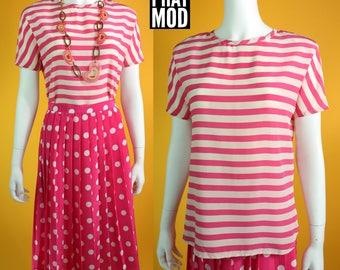 Pop Vintage 80s 90s Pink & White Stripe Silk Blouse Top