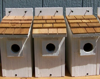 5 white bluebird houses nest with cedar shake roof handmade by Cedarnest