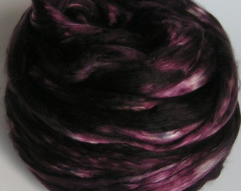Silk Mulberry Sliver Fiber Top Roving Cultivated BLACK CHERRY GARCIA Supreme Luxurious Quality Hand Painted Mulberry Handspinning 2 ounces