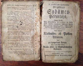 Very Old Religious Book in Finnish from 1813 Finland