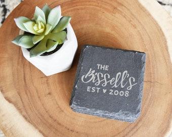 Personalized Coaster Set, Slate Coasters, Custom Coasters, Set of 4, Last Name & Est Date, Wedding, Bridal shower, Housewarming, Engraved
