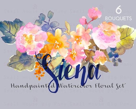 Digital Clipart- Watercolor Flower Clipart, peonies Clip art, Floral Bouquet Clipart, wedding flowers clip art- Siena Bouquets
