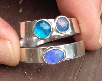 Sterling Silver, Opal and Apetite Adjustable Ring