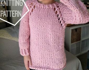 Chunky Knit Sweater Pattern, Top Down Raglan Sweater Pattern, Super Chunky Knitting Pattern, Oversized Knit Sweater Pattern, DOWNLOAD ONLY