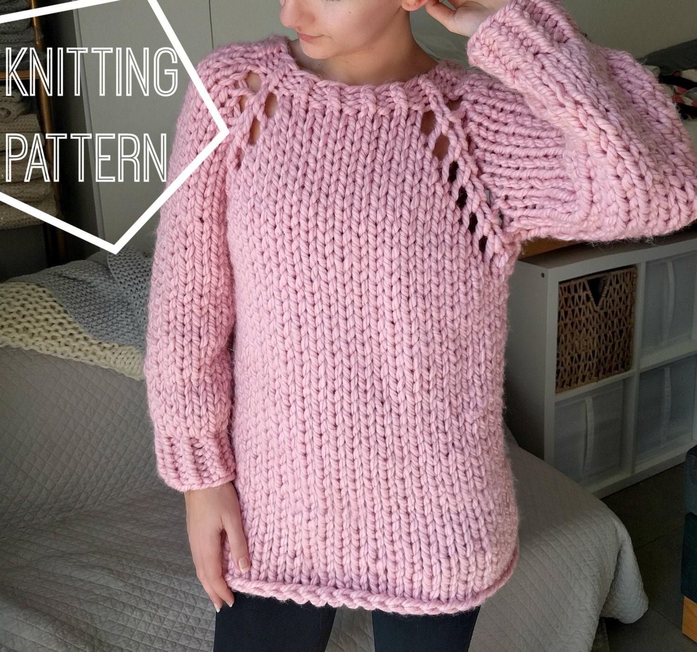 Chunky knit sweater pattern top down raglan sweater pattern zoom bankloansurffo Choice Image
