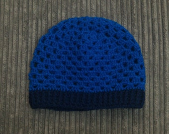 Two Colour Handmade Adult Slouch Hat - Crochet Granny Square Hat