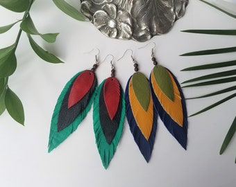 Leather Feather Earrings, Statement Earrings, Boho Feather Earrings, Leather Earrings, Tropical Earrings, Leaf Earrings, Magnolia Leaf