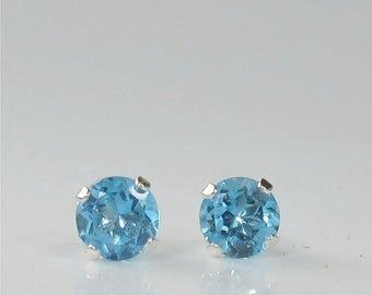 Swiss Blue Topaz 4mm .55ctw Sterling Silver Gemstone Stud Earrings