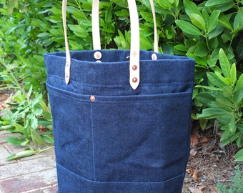 Waxed Denim Tote Bag with Leather Handles - Large Denim Tote Perfect for Everyday or Travel - Magnetic Closure
