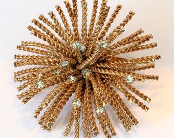 Vtg Bergere Pin Fireworks Starburst Goldtone Clear Rhinestone Accents Unmarked