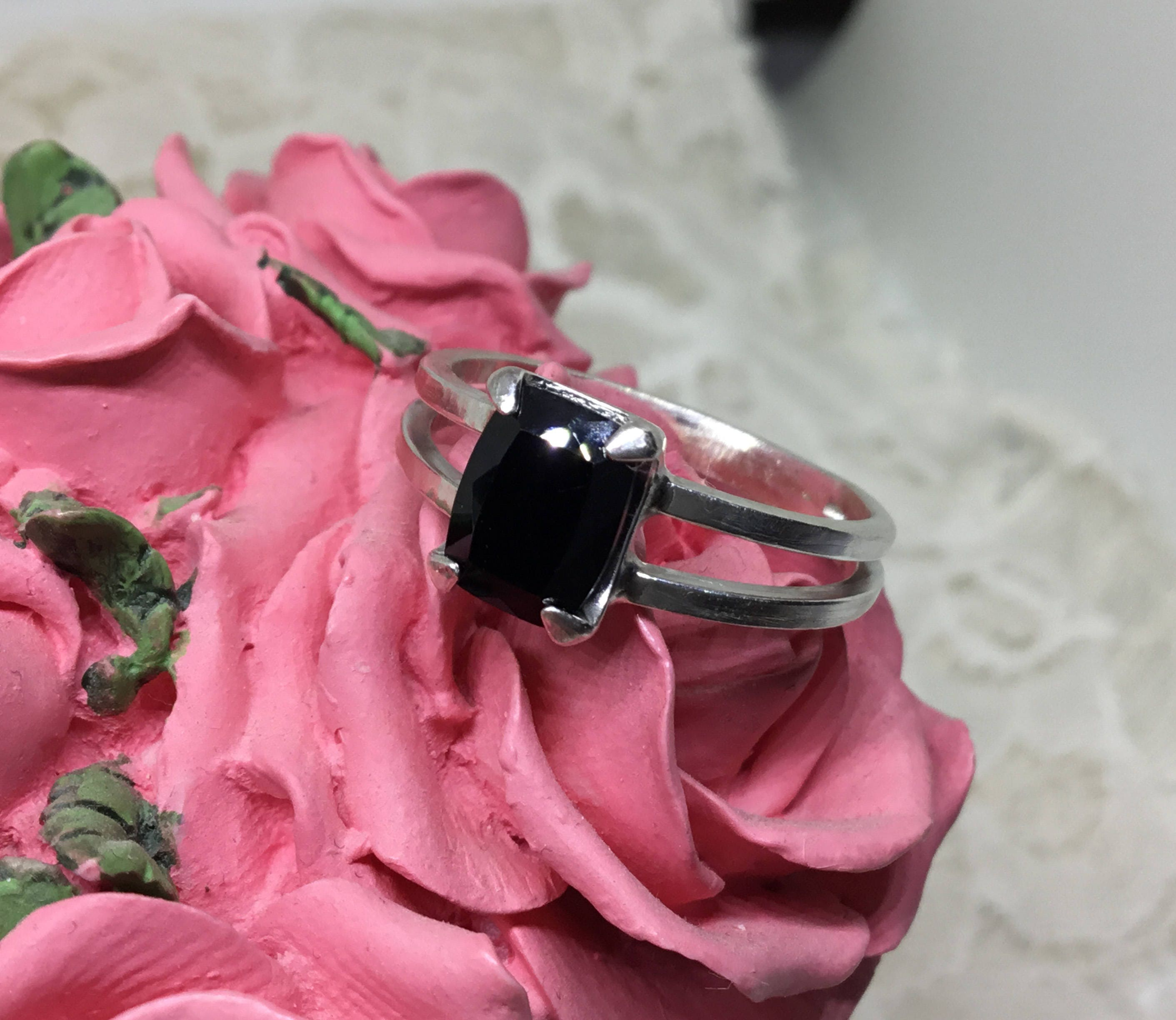 Handcrafted .925 Ring w/8 x 6mm Black Spinel Size 7 1/2