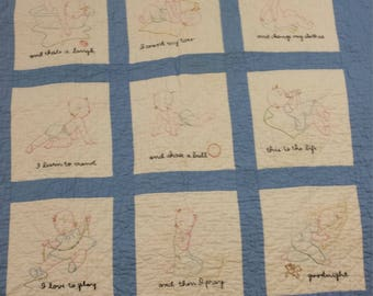 Vintage blue and white baby quilt