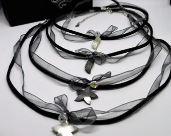 Chokers Silk and Chic suede and silk with feather or flower in sterling silver