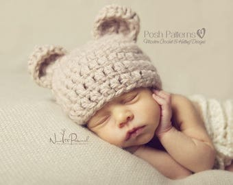 Newborn Baby Hat - Baby Bear Hat - Crochet Baby Hat - New Baby Gift - Baby Shower Gift - Baby Boy Hat - Coming Home Outfit - Photo Prop