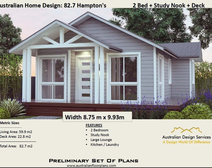 636 sq feet or 59.9 m2 |  Hamptons Style 2 Bed + Study granny flat | Concept House Plans For Sale