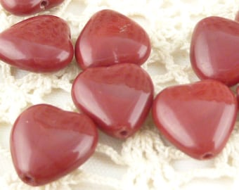 12x11mm Dark Blood Red Heart Czech Pressed Glass (10)