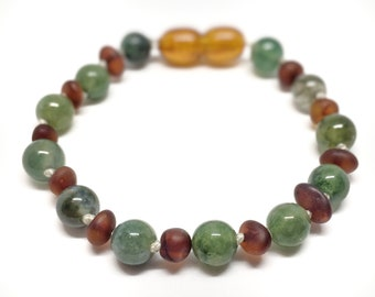 Amber and Green Moss Agate anklet, 15cm