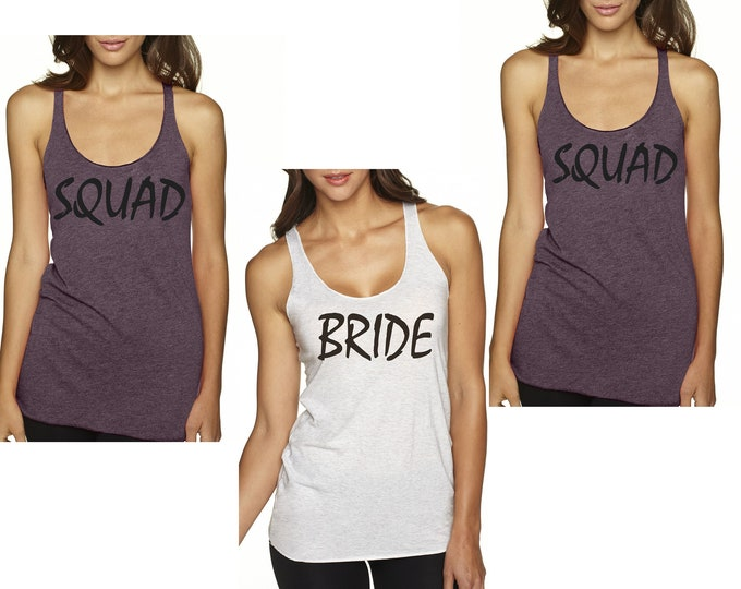 Squad and Bride Tank Tops , Squad Tank , Bride Purple Tanks , Set of 3, 4, 5, 6, 7, 8, 9 Bachelorette Party Tees , Bachelorette Shirts ,