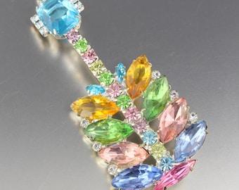 Vintage 1950's Pastel Color Crystal Glass Rhinestone Guitar Pin Brooch