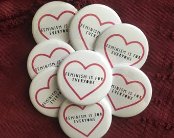 feminism is for everyone, intersectional feminism, keychain,   pin back button, 3 sizes available, mirror keychain