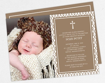 Photo Baptism Invitation, Christening Invitation, Boy Baptism Invitation, Printable Baptism Invitation, Invitation PDF, Modern, Brown, Sean