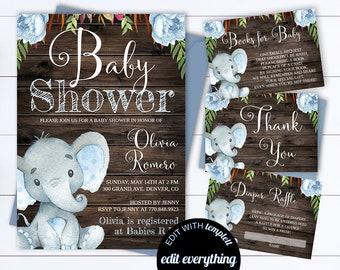 Rustic Baby Shower Invitation Template Boy Baby Shower Invite Elephant Baby Shower Template Rustic Baby Boy Shower invitation