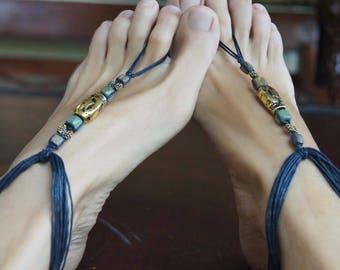 Black Boho Barefoot Sandal, Mens Barefoot Sandals, Mens Beach Wedding Sandal, 1 Pair