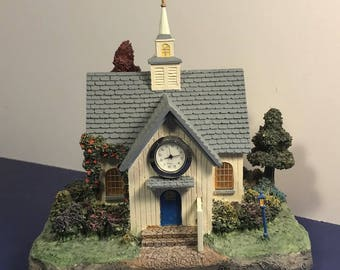 THOMAS KINKADE COTTAGE lights up Forest chapel church village figurine statue vintage battery operated watch clock above door trees