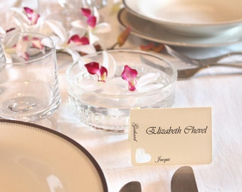 50 wedding place cards Heart (with bride and groom's names)- elegant escort cards wedding reception ivory white blue purple table decoration