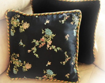 "Sakura Bloom/Cherry Bloom/decorative throw pillow/decorative cushion/vibrant colors/silky fabric/black velvet/13""X13""/FREE SHIPPING"