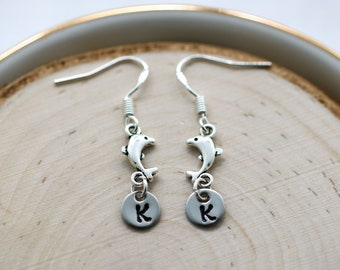 Dolphin Earrings Sterling Silver Hooks for Women - Dolphin Lover Gift for Girls - Personalized Initial - Hawaii Dolphin Jewelry - Nautical