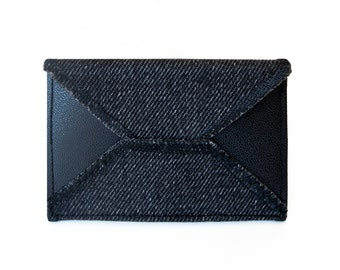 Black Card Holder - Handmade from Salvaged Denim and Leather