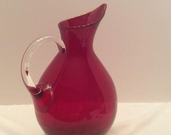 Blenko Ruby Crystal 991 Modern Glass Pitcher