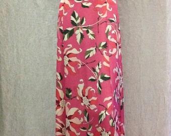 SALE,Long Evening Dress silky satin red carpet formal dress pink blue floral Multicolored Short sleeved Wedding Party Dress V-neck,size M/L