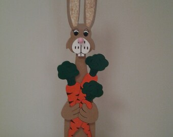 Hand-made Hand-Painted Brown Bunny Holding Carrots Easter Decoration