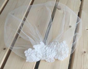 Ivory Tulle Birdcage Veil, Vintage Style Petite Veil  Mini Blusher Illusion Tulle  Veil