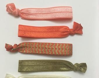 Elastic Hair Ties FOE Orange & Gold